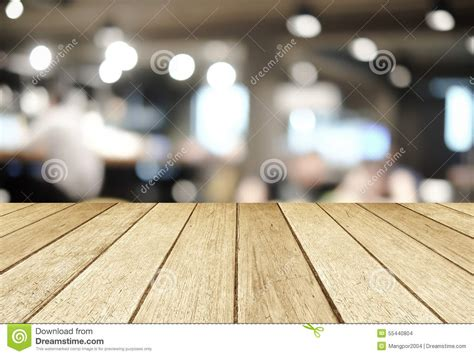 Perspective Wood Over Blurred Restaurant With Bokeh Background Stock Photo   Image: 55440804