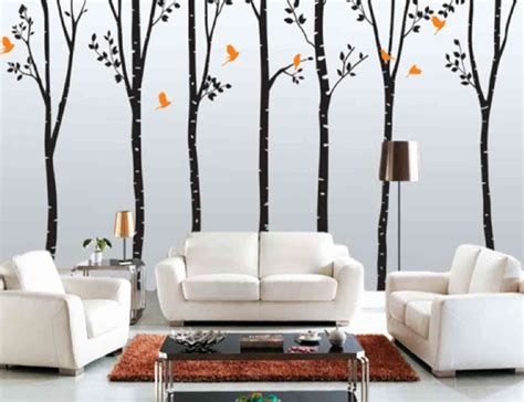 Prodigious Tree Picture For Wall Pattern Ideas With White