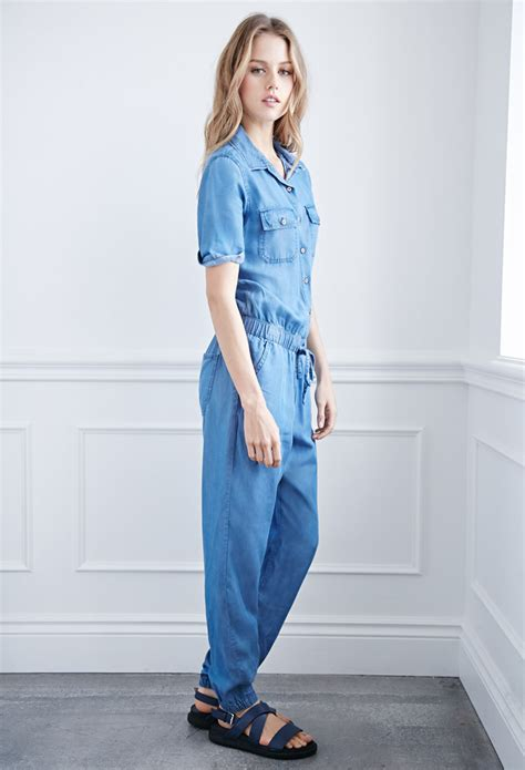 forever 21 denim jumpsuit forever 21 denim utility jumpsuit in blue lyst