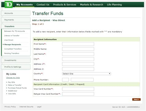 Visa Direct Send Money Online Canada Trust