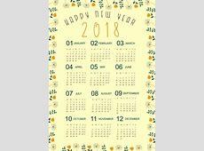 2018 calendar template natural flowers border decor