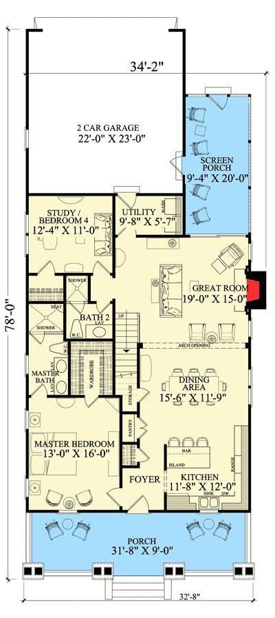plan wp beautiful detailing   open layout narrow lot house plans craftsman style
