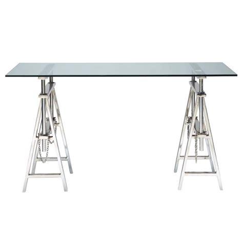 table bureau verre glass and chrome metal desk w 150cm helsinki maisons du