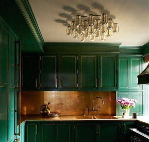 green kitchen units kitchen with forest green cabinets and bronze backsplash 5045