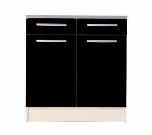 Petit Meuble Noir : meuble bas de cuisine noir 80 cm 2 portes avec plan de travail meuble et d coration marseille ~ Teatrodelosmanantiales.com Idées de Décoration