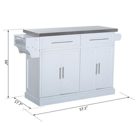 stainless steel kitchen island with drawers kitchen island cart rolling cabinet stainless steel top w 9401