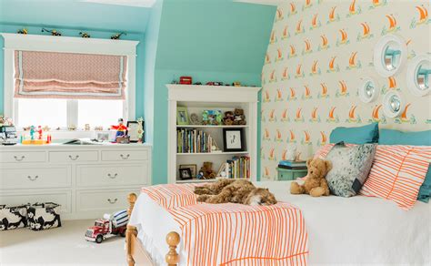 Turquoise Blue And Orange Kids Rooms-contemporary-girl