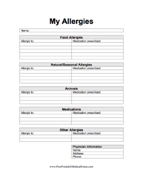 printable  allergies