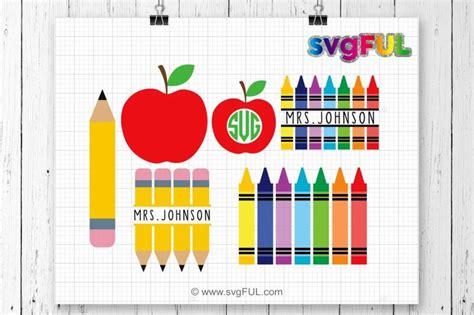 teacher svg crayon split monogram svg pencil svg crayons svg  svgful thehungryjpegcom