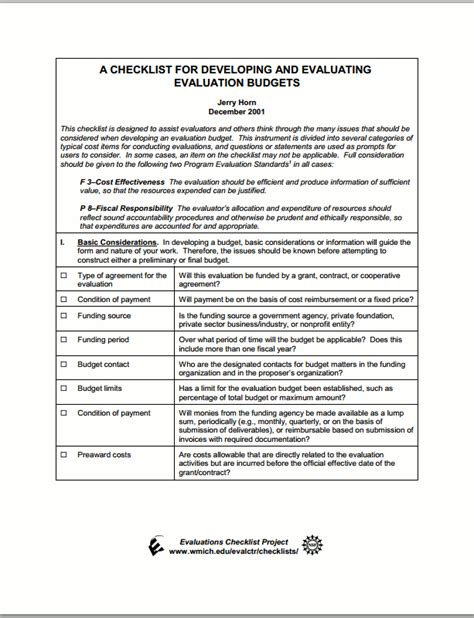 evaluation budget matrix  evaluation