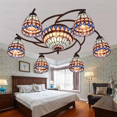 Vintage 8 Light Stained Glass Ceiling Light Fixtures Twig