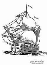 Ship Sailing Coloring Fun Printcolorfun sketch template