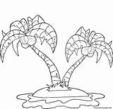 Coloring Palm Island Trees Pages Coconut Printable sketch template