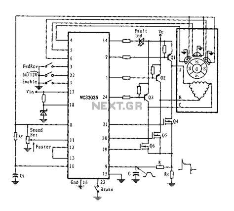 Three Phase Six Step Motor Control Circuit Diagram