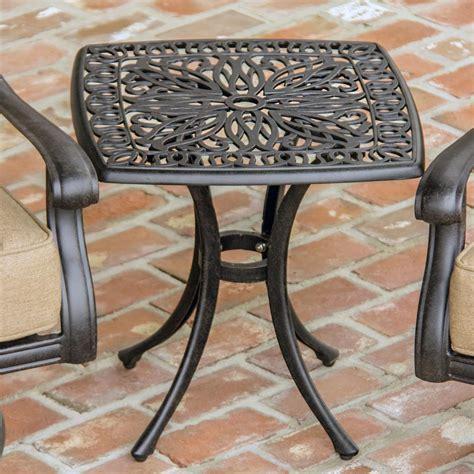 cast aluminum patio table rosedown square cast aluminum patio end table by lakeview