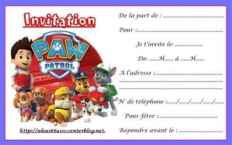 Carte Invitation Pat Patrouille 11