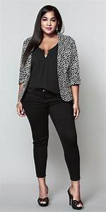 Fashion for chubby young ladies of black pants great jacket   Fat is Phat   Pinterest   Black ...