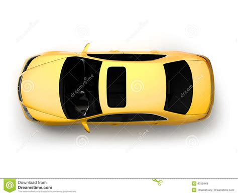 Isolated Yellow Modern Car Top View Stock Illustration