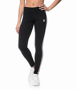 Adidas 3 Stripe Black Leggings | Zumiez