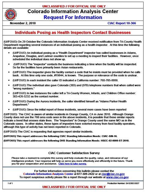 (ufouo) Colorado Information Analysis Center Fake Health