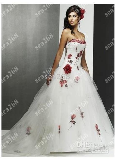 Discount Strapless Wedding Dresses White Red Rose