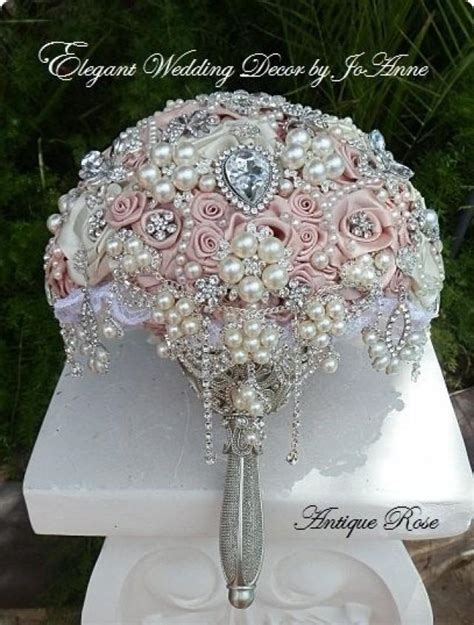 Antique Pink Jeweled Wedding Bouquet Deposit For A
