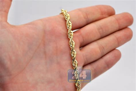 Solid 14K Yellow Gold Mens Rope Chain 6 mm 24 26 28 30 inch