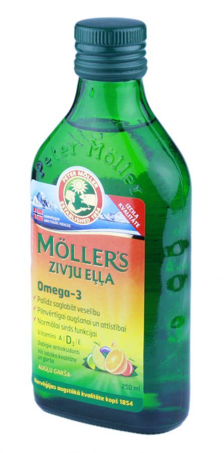 MOLLERS zivju eļļa (augļu garša), 250 ml - Mēness aptieka