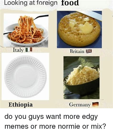 traditional cuisine of looking at foreign food italy li britain germany m do you guys want more edgy memes or