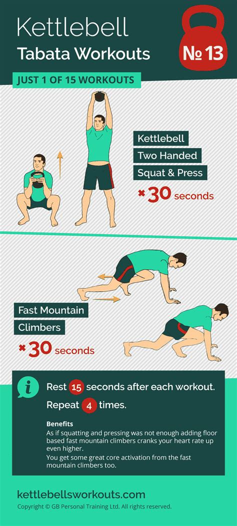 tabata workout kettlebell workouts kettlebellsworkouts burn fat climbers exercises cardio kettlebells training squat intense challenge bodyweight fast