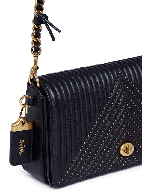 coach dinky rivet quilted leather crossbody bag  black lyst