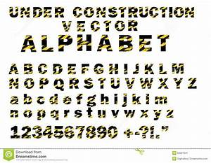 under construction striped pattern style vector letters With construction alphabet letters
