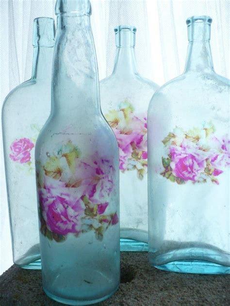 shabby chic decoupage  glass bottles founterior