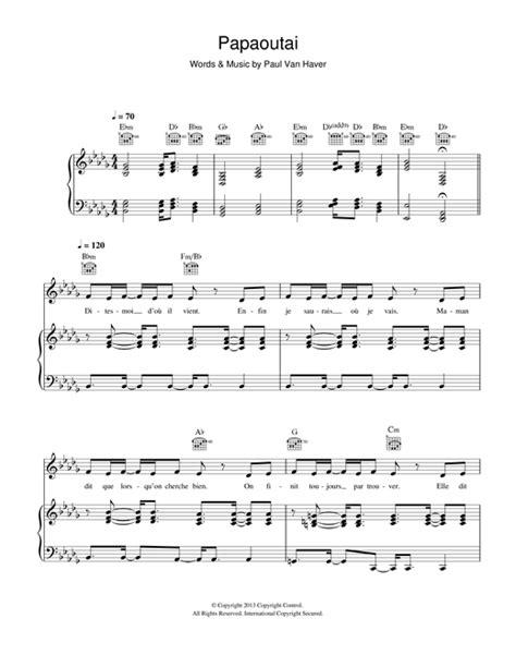 papaoutai sheet   stromae piano vocal guitar