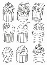Simple Cupcakes Coloring Cup Cakes Pages Adult Cake sketch template
