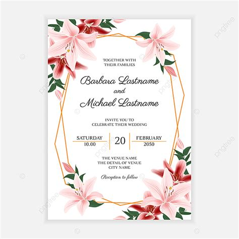 Rustic Wedding Invitation Card With Lily Flower Decoration