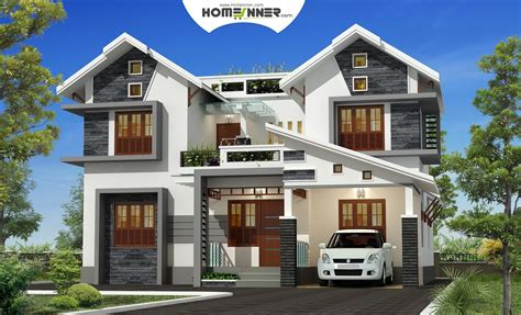 attractive exterior bhk kerala villa design indian home