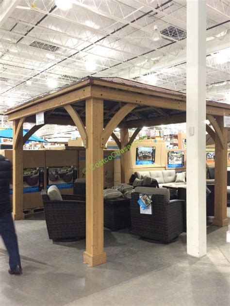cedar gazebo  aluminum roof costcochaser