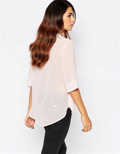 wrap front blouse lyst ax x wrap front blouse in pink