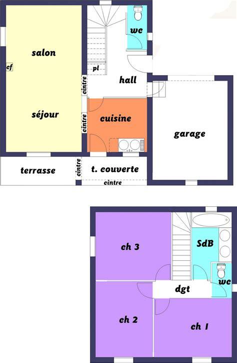 maison 3 chambres plan maison 60m2 3 chambres