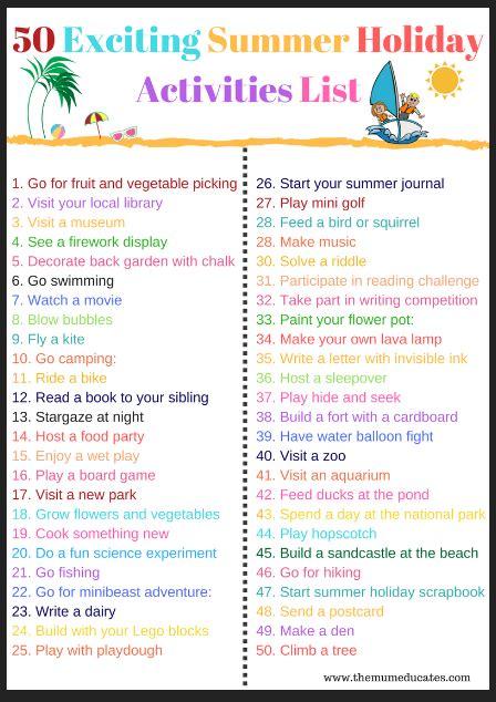 fun  exciting summer activities list  mum educates
