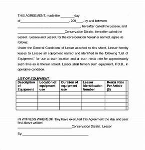equipment lease agreement templates 6 samples With equipment lease document template