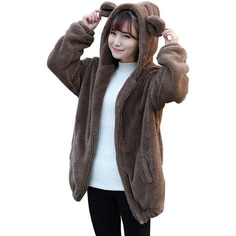 warm fluffy bear ears winter coat coffee noirlu
