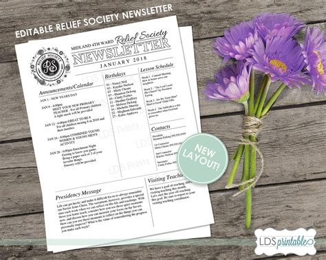 lds relief society editable newsletter  microsoft word