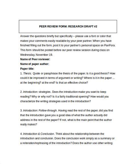 peer review template 8 sle peer feedback forms exle sle format