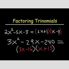 Factoring Trinomials Ax2+bx+c By Grouping Youtube