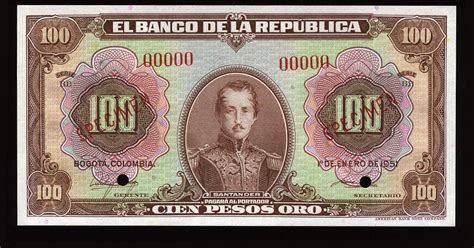 colombia banknotes  colombian pesos oro banknote world banknotes coins pictures