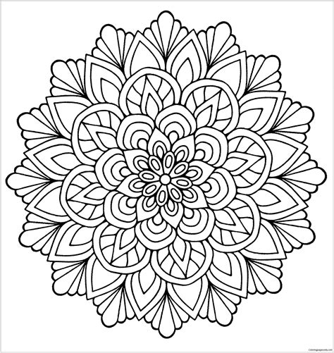 Coloring Mandala by Mandala Flower With Leaves Coloring Page Free Coloring