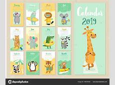Calendar 2019 Cute Monthly Calendar Forest Animals Hand