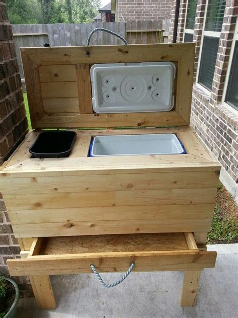 diy coolertrash  stand wdrawer  patio hubby